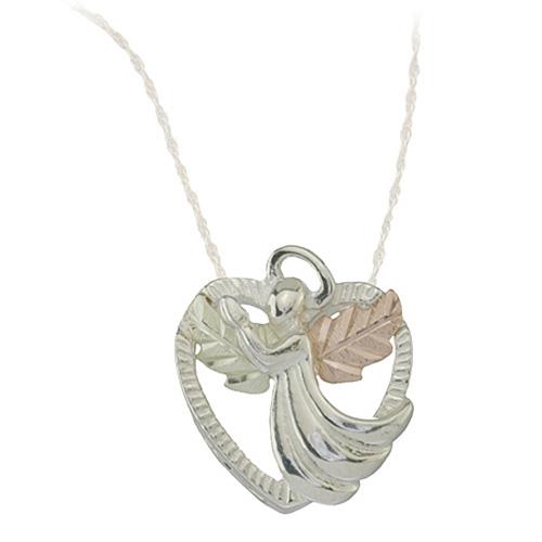 Black Hills Gold Angel Heart Necklace - Sterling Silver