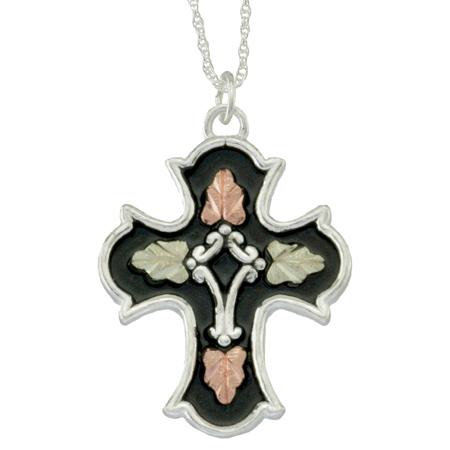 Black Hills Gold Antiqued Cross Necklace - Sterling Silver