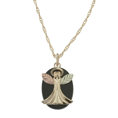 10k Black Hills Gold Angel with Onyx Necklace