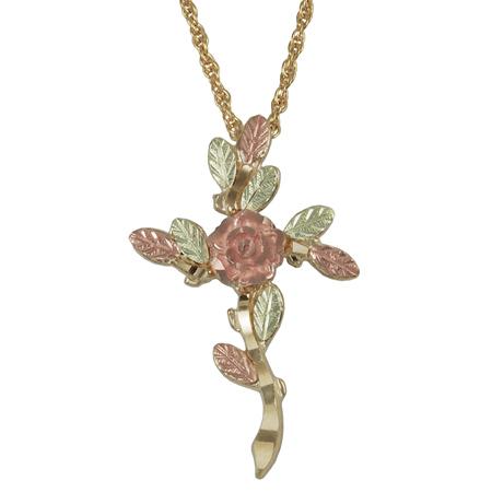 10kt Black Hills Gold 1in Vine Cross Necklace