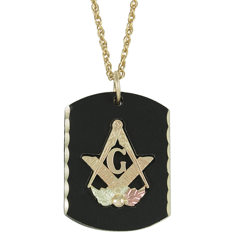 Brass and Black Hills Gold Masonic Dog Tag on 20in Gold-Filled Chain