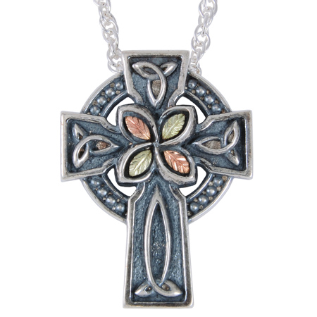 Sterling Silver 1 1/4in Black Hills Gold Oxidized Cross Necklace