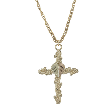 10k Black Hills Gold Cross Necklace
