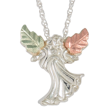 Sterling Silver Black Hills Gold Angel Necklace