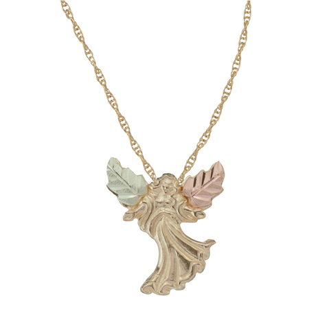 10k Black Hills Gold Angel Necklace