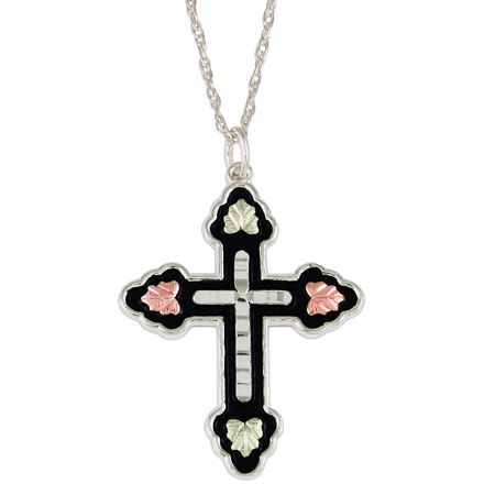 Black Hills Gold Antiqued Cross Necklace - Sterling Silver
