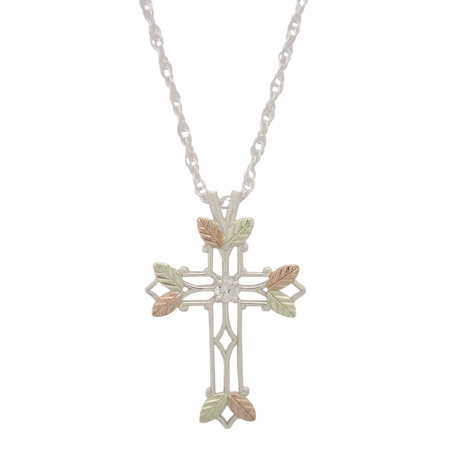 Sterling Silver Black Hills Gold 1in CZ Cross Necklace