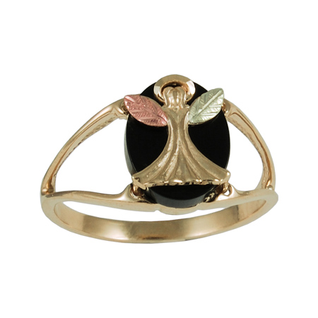 10k Black Hills Gold Angel with Onyx Ring