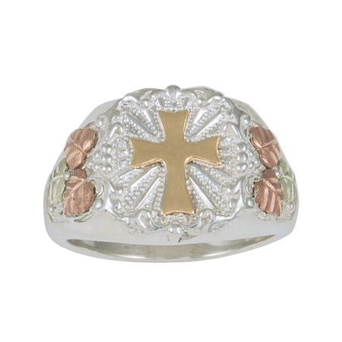 Black Hills Gold Sterling Silver 10k Cross Ring