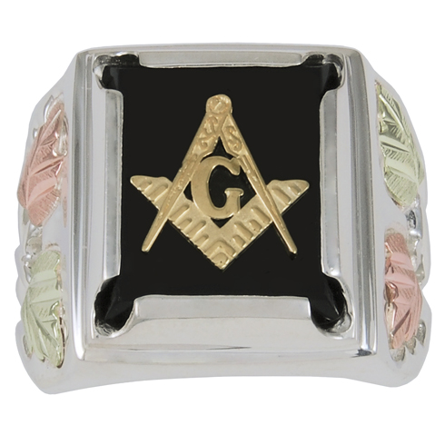 Tri-color Black Hills Onyx Wide Masonic Ring - Sterling Silver