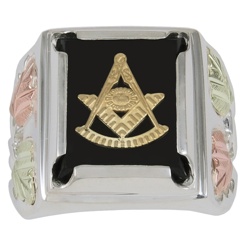Tri-color Black Hills Onyx Past Master Ring - Sterling Silver