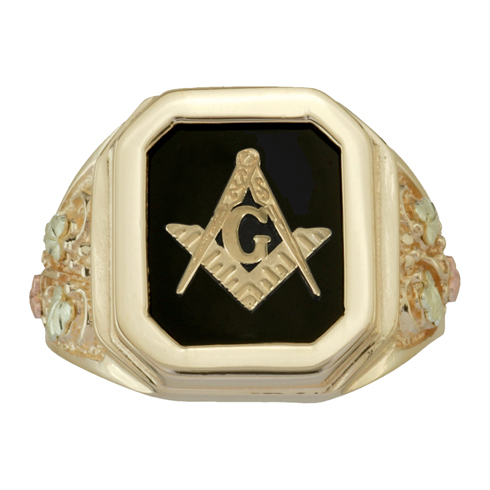 Tri-color Black Hills Octagonal Onyx Masonic Ring - 10k Gold