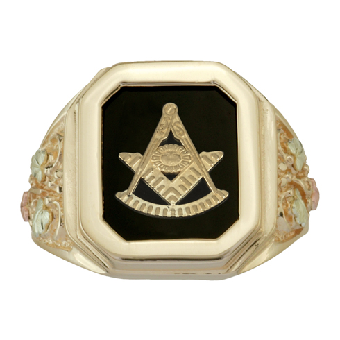 Tri-color Black Hills Onyx Past Master Ring - 10K Gold