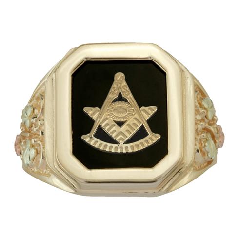 Tri-color Black Hills Onyx Past Master Ring - 10K Gold