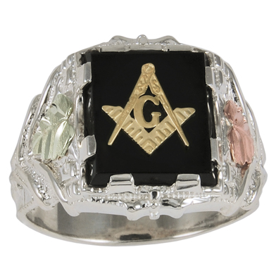 Tri-color Black Hills Onyx Masonic Ring - Sterling Silver