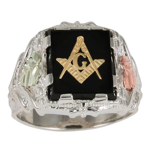 Tri-color Black Hills Onyx Masonic Ring - Sterling Silver
