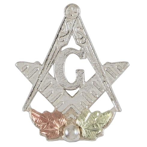 Tri-color Black Hills Masonic Lapel Pin - Sterling Silver