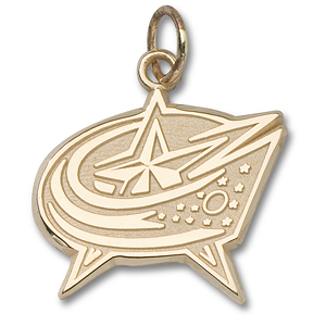 Columbus Blue Jackets 3/8in Logo Charm 14k Yellow Gold