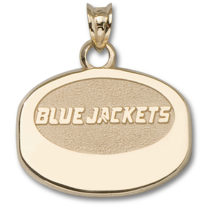 Columbus Blue Jackets 1/2in Puck Pendant 10k Yellow Gold