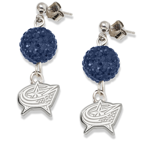 Sterling Silver Columbus Blue Jackets Crystal Ovation Earrings