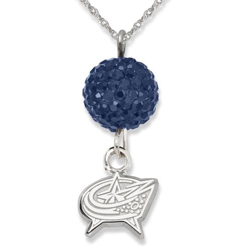 Sterling Silver Columbus Blue Jackets Crystal Ovation Necklace