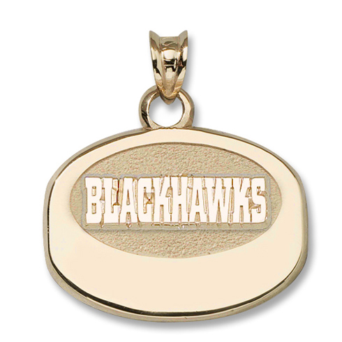 10kt Yellow Gold 5/8in Chicago Blackhawks Puck Pendant