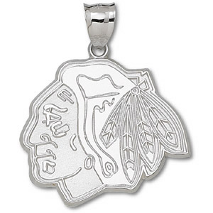 Sterling Silver Chicago Blackhawks 1 1/2in Pendant