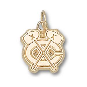 10kt Yellow Gold 3/8in Chicago Blackhawks C Logo Charm