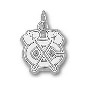 Sterling Silver 3/8in Chicago Blackhawks c Logo Charm