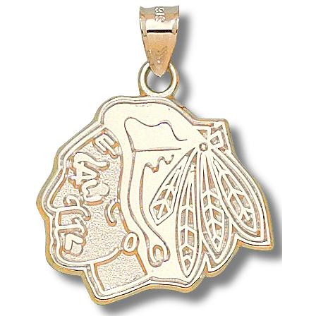 10kt Yellow Gold 1in Chicago Blackhawks Pendant