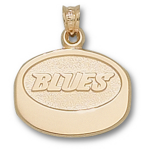 14kt Yellow Gold 5/8in St Louis Blues Puck Pendant