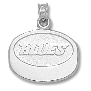 Sterling Silver 5/8in St. Louis Blues Puck Pendant