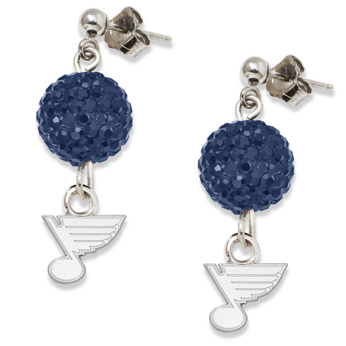 St. Louis Blues Crystal Ovation Earrings Sterling Silver