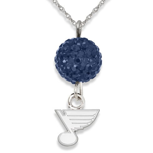 Sterling Silver St. Louis Blues Crystal Ovation Necklace