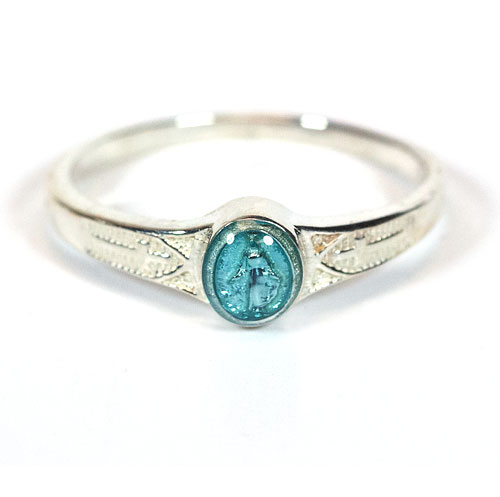 Sterling Silver Kid's Miraculous Medal Ring with Blue Epoxy