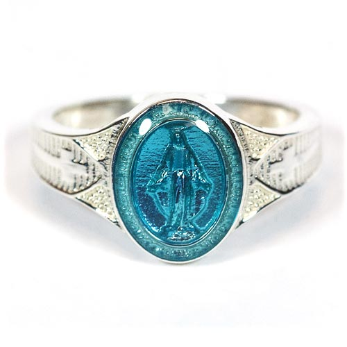 Sterling Silver Miraculous Medal Ring with Blue Epoxy