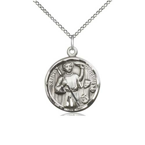 Sterling Silver 7/8in St Genesius Medal with 18in Chain