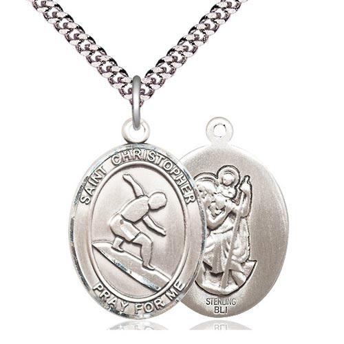 Sterling Silver 1in Oval St Christopher Surfer Medal & 24in Chain