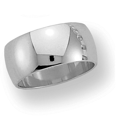 10mm Oval Band - 14k White Gold