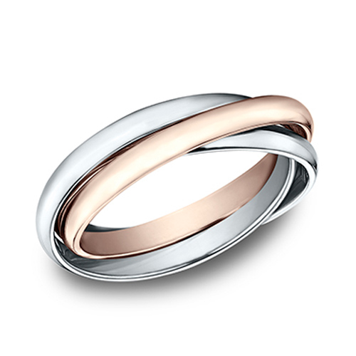 14kt White and Rose Gold Set of 3 Rolling Rings 2mm