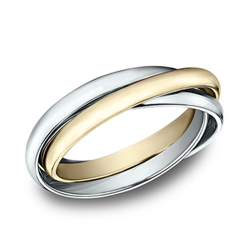 14kt White and Yellow Gold Set of 3 Rolling Rings 2mm