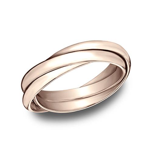 14kt Rose Gold Set of 3 Rolling Rings 2.5mm