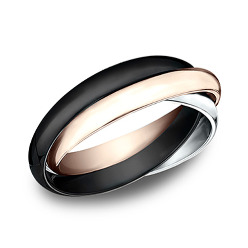 14kt White and Rose Gold Black Ceramic Set of 3 Rolling Rings 3mm