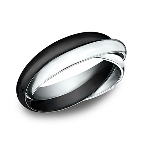 14kt White Gold and Black Ceramic Set of 3 Rolling Rings 3mm