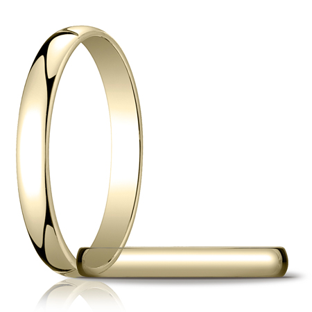 14kt Yellow Gold 3mm Light Oval Wedding Band