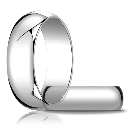 14kt White Gold 7mm Oval Wedding Band
