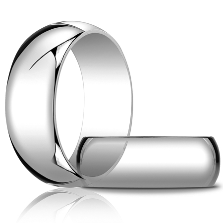14kt White Gold 8mm Oval Wedding Band