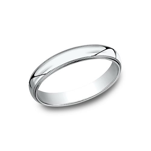 10kt White Gold 3mm Milgrain Comfort Fit Wedding Band