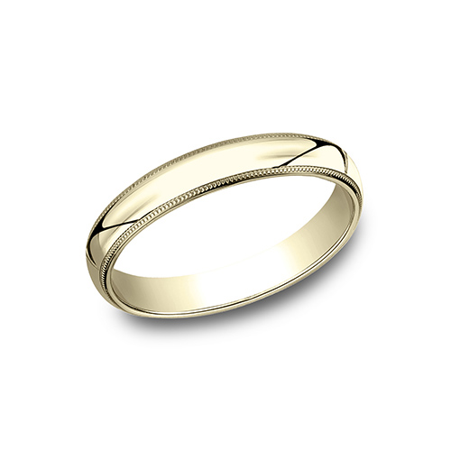 10kt Yellow Gold 3mm Milgrain Comfort Fit Wedding Band