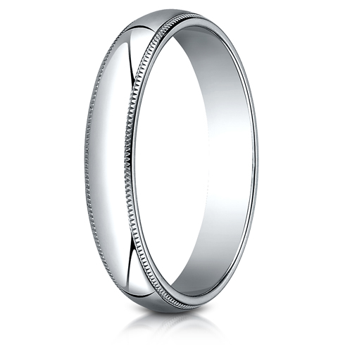 Platinum 4mm Milgrain Wedding Band